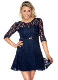 2018-06-15 00_08_20-Women's Cute Sheer Lace Three-Fourth Sleeve Dress with Belt Decor at Amazon Wome