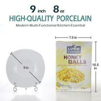 9-inch Porcelain ,Bowls,White Square Bowl Set, Wide & Shallow, Set of 6 4