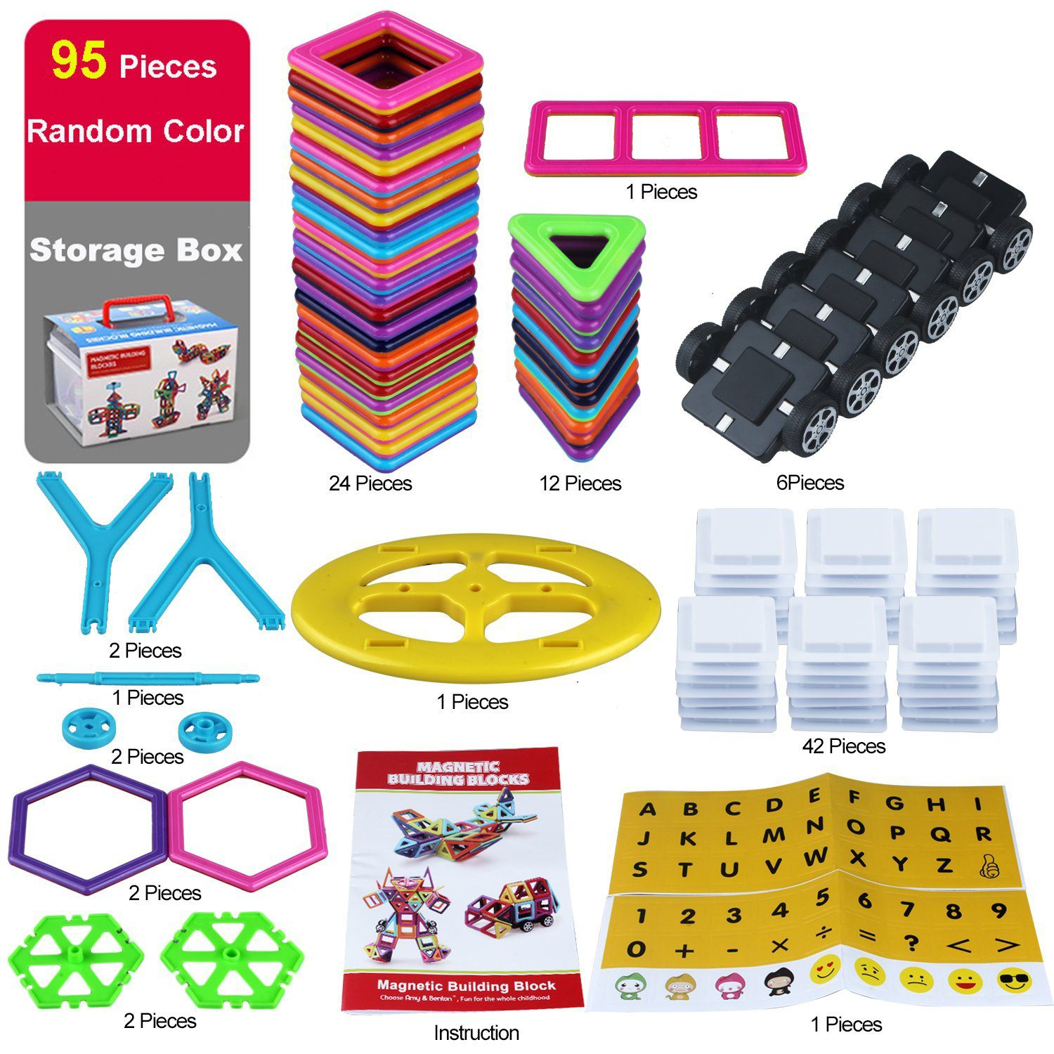 95 Pieces Magnetic Stacking Blocks 4