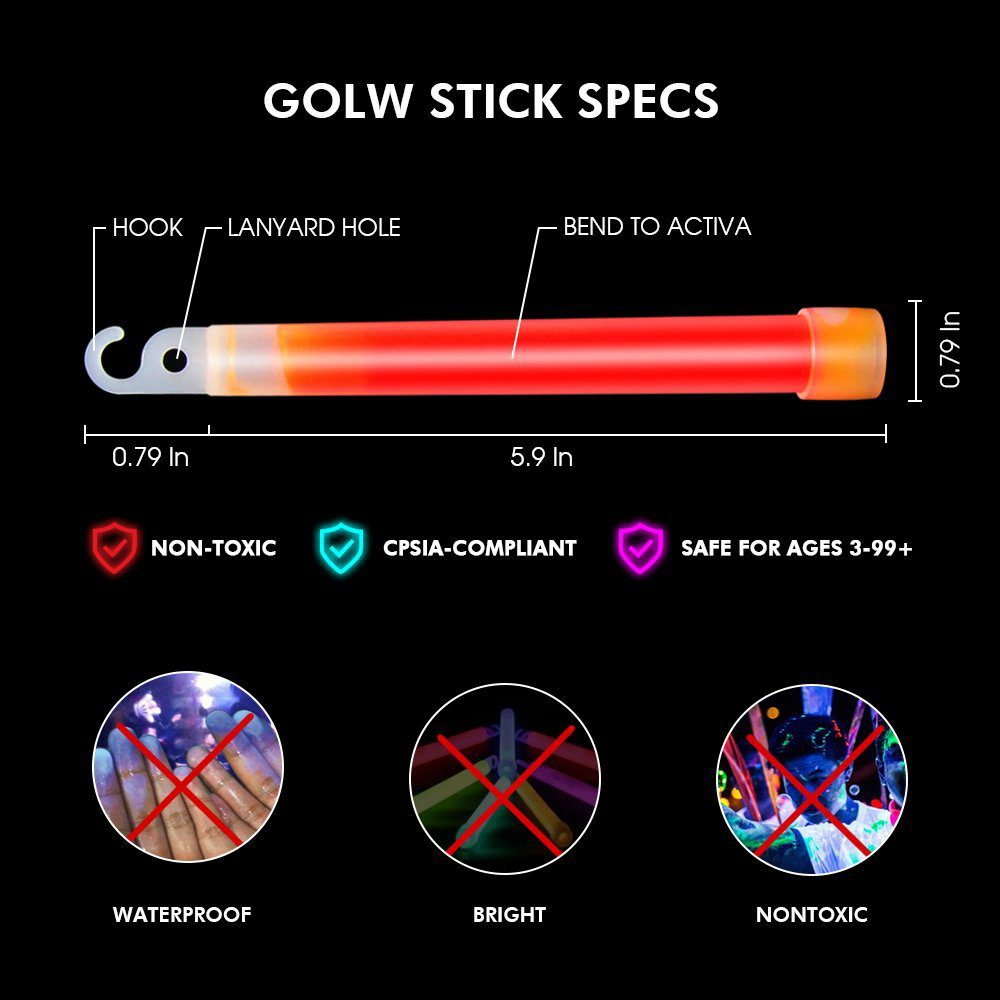 Glow Sticks Bulk 25 Count ( Whistle Shape ) 2