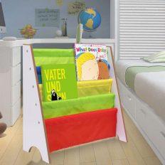 Kids Book Storage Shelf, Bookcase Book Toys Rack Sling for Kids Display Bookshelf (White) 2