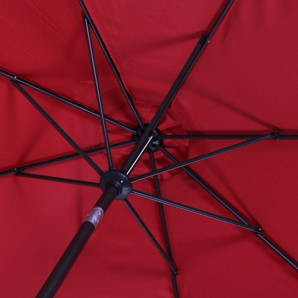 Outdoor Market Umbrella with Push Button Tilt and Crank, Patio Umbrella, 9.6 Ft, Red 6