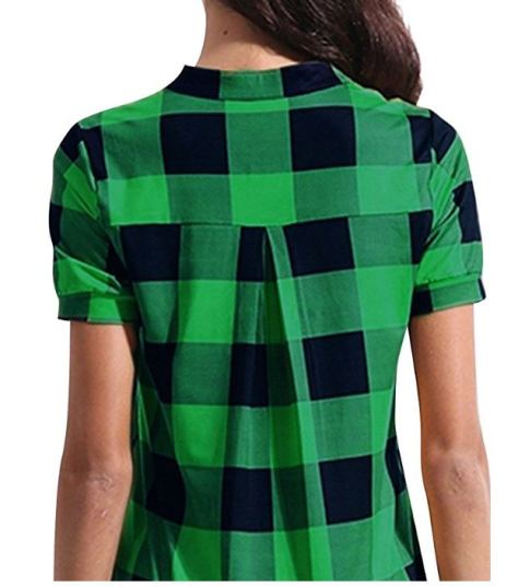 a420838d Deals Finders | Amazon: Women Short Sleeve Blouse Simple Plaid Check ...