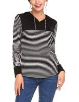 Women Long Sleeve Striped Hoodie Hooded Pullover Sweatshirt 1