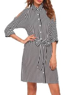 Women Split Batwing Sleeve Solid Striped Casual Loose Shirt Dress With Belt 1