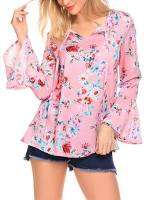 Women V Neck Floral Print Flare Sleeve Loose Blouses Tops 1