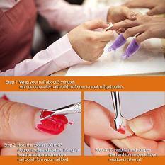 Gel Nail Polish Remover, Hekoy Acrylic Nail Clips Wraps Caps Cuticle Pusher Set for Women Fingernail Toenail 21pcs 4