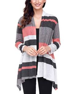 Women's Color Block Long Sleeve Open Front Drape 2