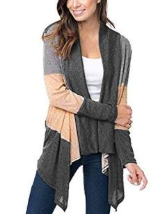 Women's Color Block Long Sleeve Open Front Drape