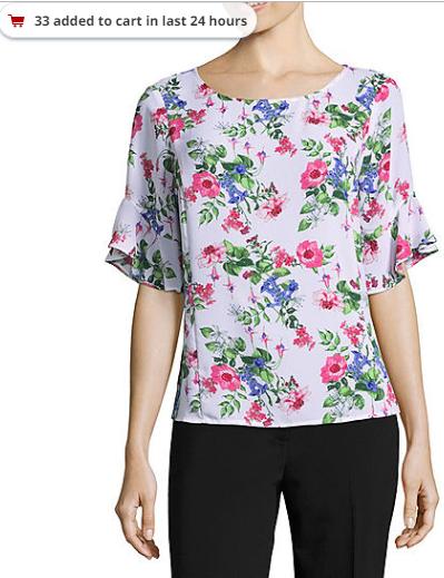 3ca2882ce ... 2018-09-20 21_34_34-Liz Claiborne 3_4 Sleeve Round Neck Woven Floral  Blouse