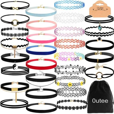 30 PCS Black Velvet Choker Necklace Set.jpg