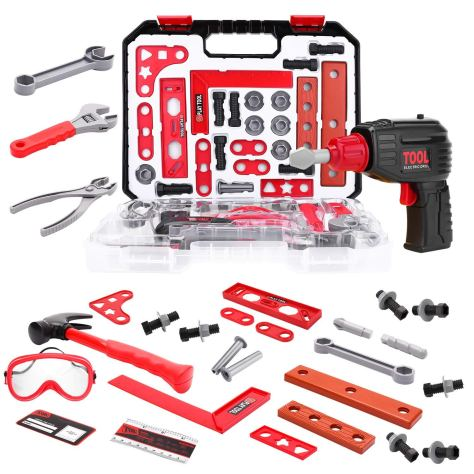 36 Pieces Boys Construction Toy Tools kit in Sturdy Case 1