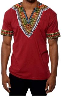 Karlywindow Mens Dashiki Africa Short Sleeve T-Shirts V Neck Floral Print Tee Sh