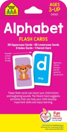 School Zone - Alphabet Flash Cards - Ages 3+, PreK, Letter-Picture Recognition, Word-Picture Recognition, Alphabet, and More Cards 1