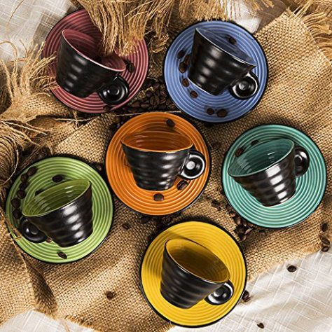 Set of 6, with Embossed Swirling Lines, 2.5oz, 6 Candy Colors Assorted 2
