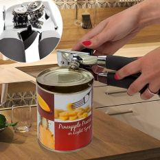 Smooth Edge Stainless Steel Can Opener with Anti-Slip Rubber Plastic Handle 1