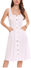 Women Casual Square Collar Sleeveless Pocket Button A-Line Dress 1