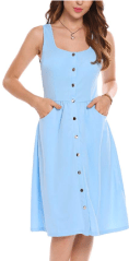 Women Casual Square Collar Sleeveless Pocket Button A-Line Dress 3