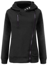 Women Oblique Zipper Front Pocket Long Sleeves Solid Color Casual Pullover Tops Hoodie 2