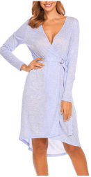 Women Open Front V Neck Long Sleeve Striped Sleep Robes Nightdress with Belt.png 2