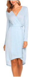 Women Open Front V Neck Long Sleeve Striped Sleep Robes Nightdress with Belt.png 3
