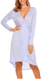 Women Open Front V Neck Long Sleeve Striped Sleep Robes Nightdress with Belt