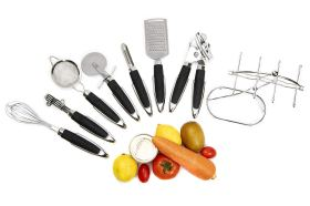 8 Cooking Handy Design Utensils Stainless Steel Kitchen Tool Set, Large, Black 3