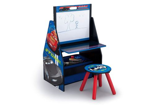 Activity Center with Easel Desk, Stool and Toy Organizer,