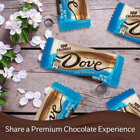 DOVE 100 Calories Milk Chocolate Candy Bar 0.65-Ounce Bar 18-Count Box 1