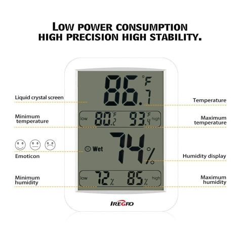 Digital Thermometer Humidity Monitor with Temperature Gauge & LCD Display for Home, Bedroom, Office, Babyroom (White) 2