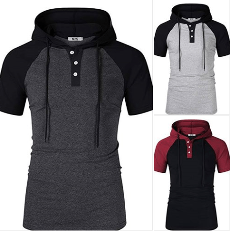 Men's Casual Slim Fit Raglan Baseball Short Sleeve 3 Button Henley T-Shirts