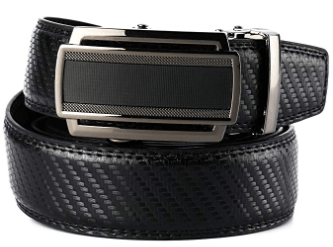 Men's Leather Ratchet Dress Belt with Automatic Slide Buckle