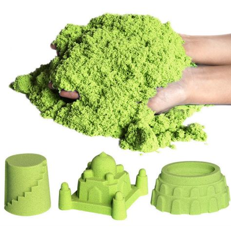 Sensory Fluorescent Sand Magic-Kinetic Glow in the Dark Green 1 lb with 5 Random Molds