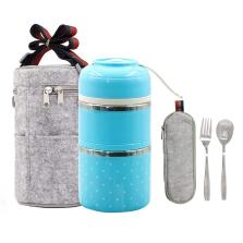 Stainless Steel Interior Bento Lunch Box 2-Tier Insulated Leak-Proof