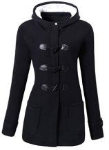 Women Classic Horns Buttons Coat Solid Color Zip Up Front Pockets Hooded Duffel Coat.png 1