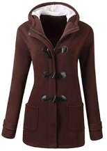 Women Classic Horns Buttons Coat Solid Color Zip Up Front Pockets Hooded Duffel Coat