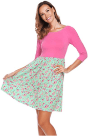 Women's 3 4 Sleeve Off Shoulder Patchwork Flower Floral Print Casual Dress 2