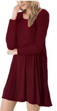 Women's Long Sleeve Swing Loose Flowy Short Casual Tunic Shirt Mini Dress