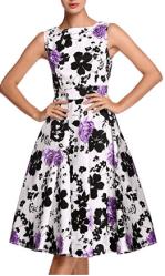 Women's Vintage Floral Spring Garden Party Picnic Dress 2