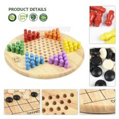 2 in 1 Chinese Checkers & Gobang (Five in a Row) Wooden Board Game 2