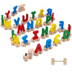 28pcs Letter Train Wooden Alphabet Railway