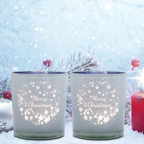 3.14 inch Christmas Candle Holders (Set of 2)
