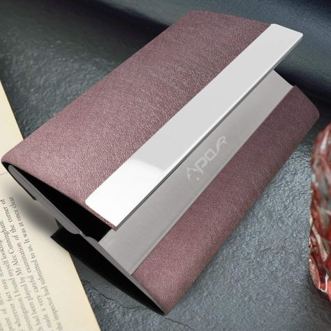 Leather Business Card Case with Magnetic Shut 2