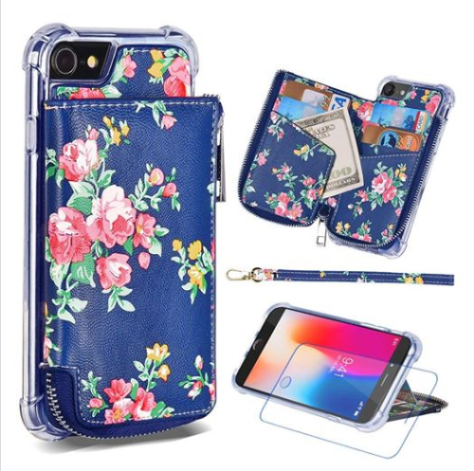 Phone Case with Card Holder Zipper Pockets