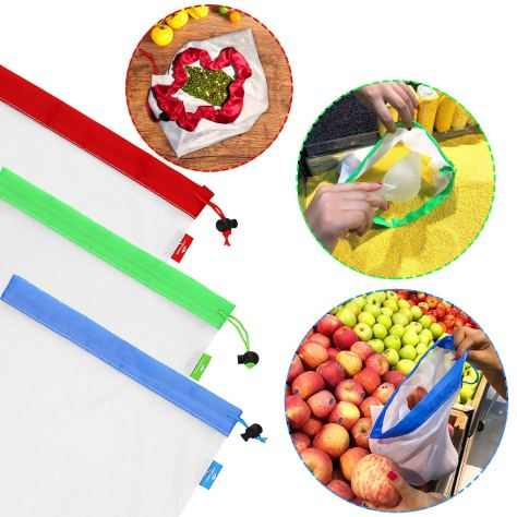 Deals Finders Amazon Set Of 18 Pcs Reusable Mesh Produce Bags