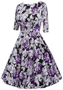 Women's 50s Hepburn Style Vintage Long Sleeve Floral Party Cocktail Evening Dress 2