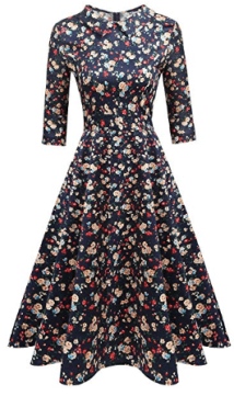 Women's 50s Hepburn Style Vintage Long Sleeve Floral Party Cocktail Evening Dress 3