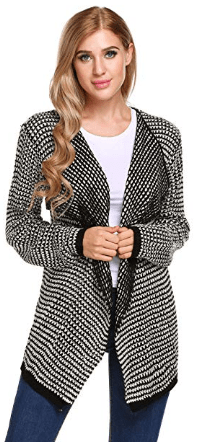 Women's Long Sleeve Pointelle Draped Open Front Knit Cardigan.png 1