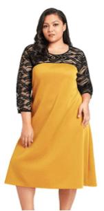 Women's Plus Size Lace Sleeve Dress