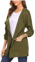Women's Zip up Hoodies Pockets Tunic Sweatshirt Long Hoodie Outerwear Asymmetric Jacket 3